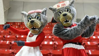 Mr and Ms Wuf in Reynolds Coliseum.