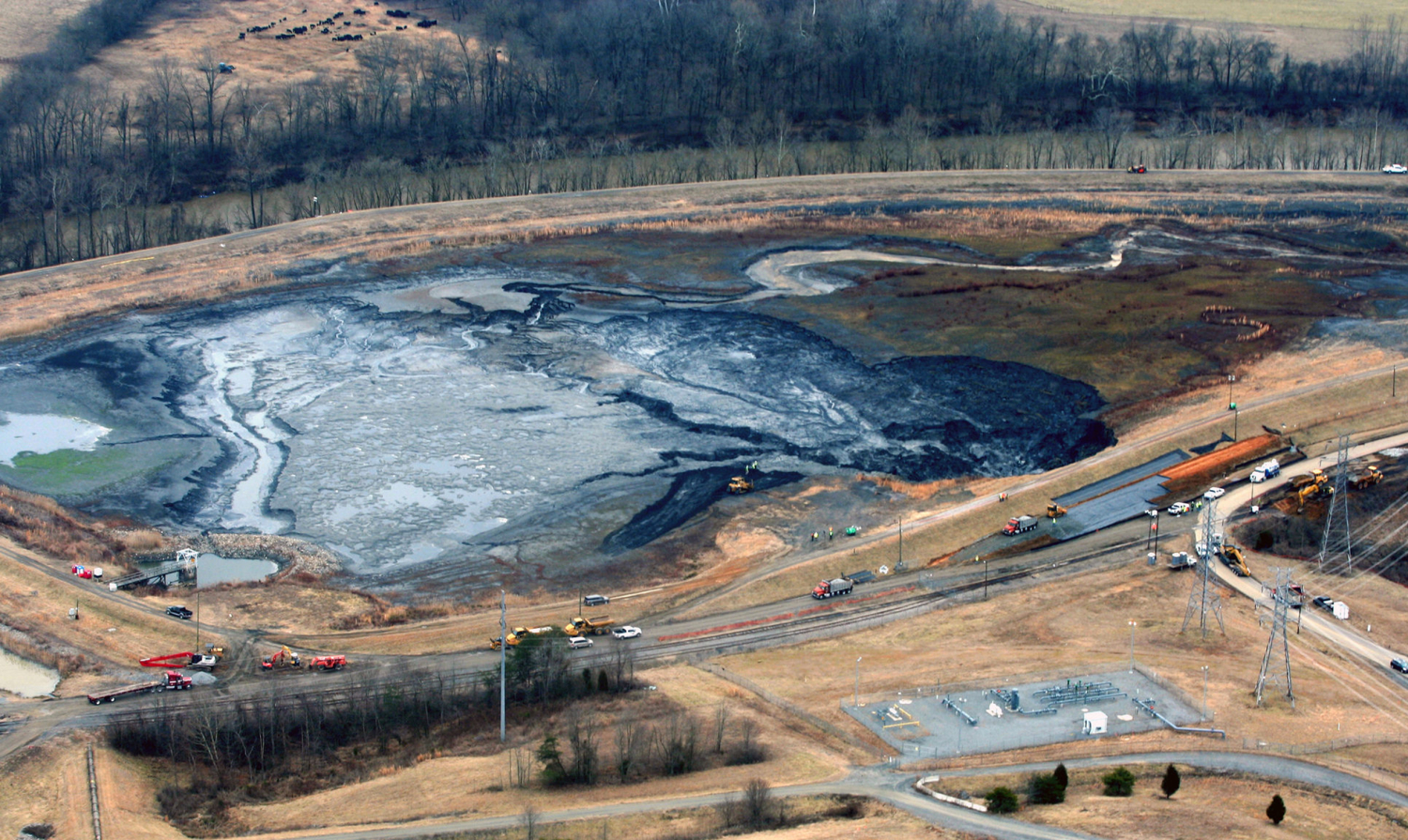 coal ash spilling into river