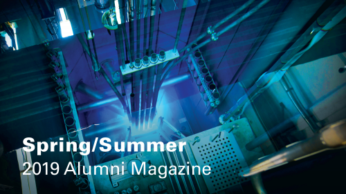 Cover image of nuclear reactor for the COE's Spring/Summer 2019 Alumni Magazine