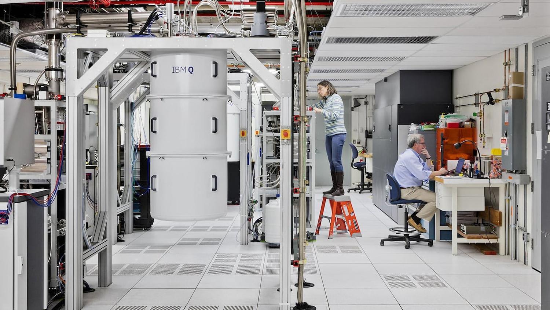 A look inside an IBM Q quantum computation center.