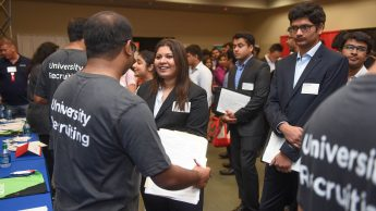 Image of company and student participants at the Engineering Career Fair