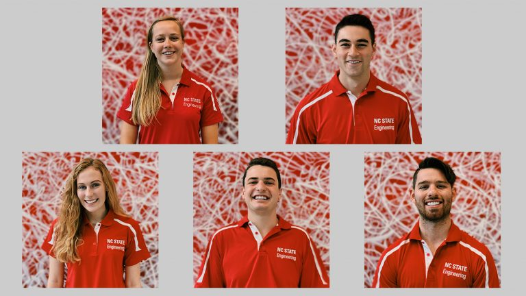 The five team members are (clockwise): Silvana Alfieri, a senior double-majoring in environmental engineering and environmental policy; Kevin Duke, a junior majoring in civil engineering; Rachel Figard, a junior majoring in industrial and systems engineering; Grant Jordan, a senior majoring in industrial and systems engineering; and Pippin Payne, a senior double-majoring in mechanical engineering and religious studies.