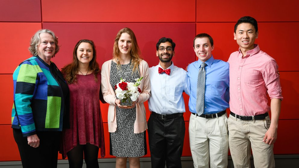From left, Shoshanna Conway, Olivia Gartz, Hannah Fletcher, Shreyas Ashok, Evan Youngberg and Brian Wu at the College's 2019 Endowment Dinner.