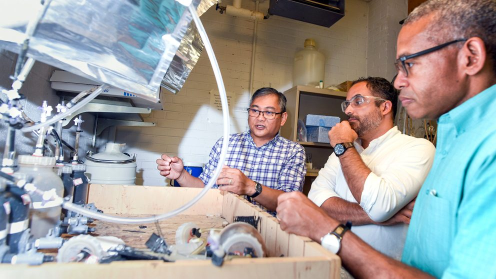 Dr. Francis de los Reyes III, Dr. Tarek Aziz and Dr. Joel Ducoste