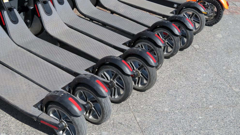 row of e-scooters