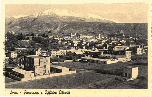 Postcard of manufacturer Olivetti in Ivrea, Italy
