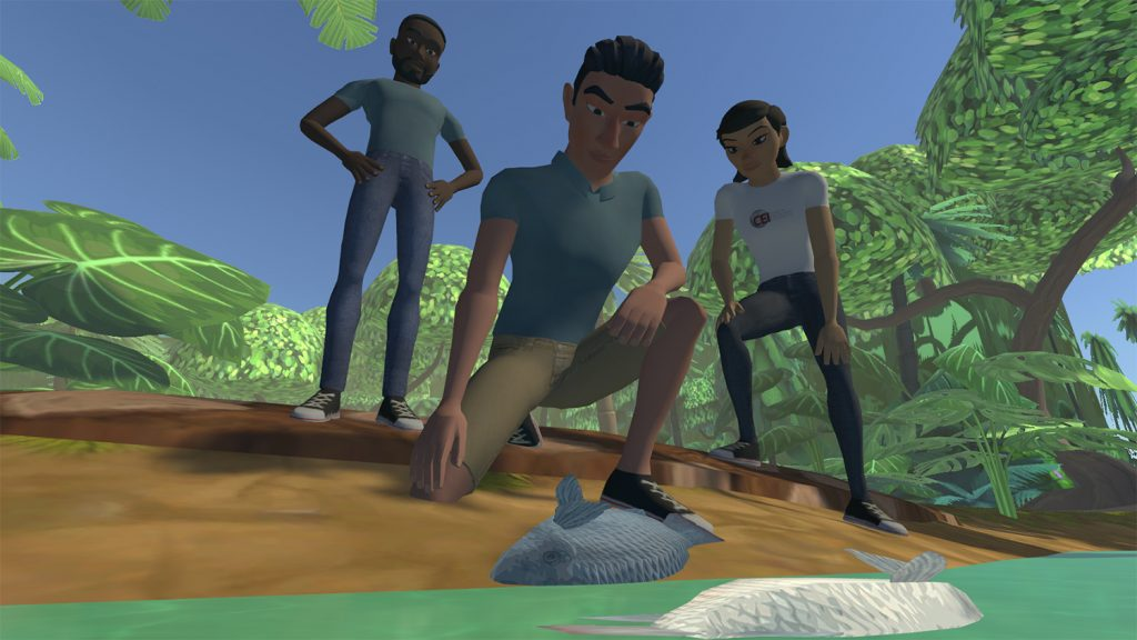 video game image of three young people examining a waterway