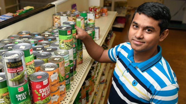 Hafizul Ismal at food pantry