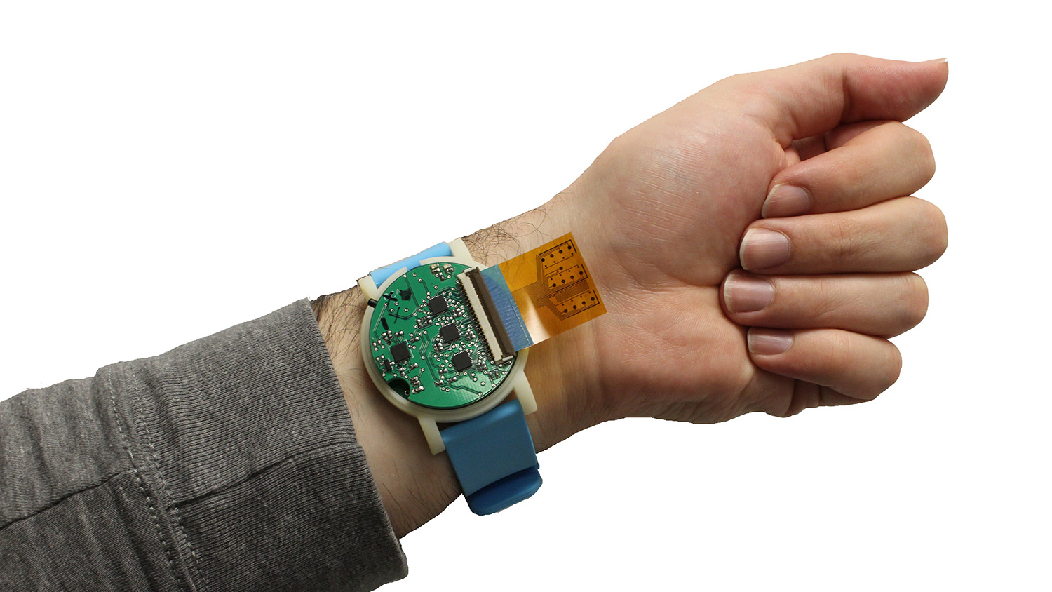 The metabolite monitoring device, shown here, is the size of a wristwatch. The sensor strip, which sticks out in this photo, can be tucked back, lying between the device and the user's skin. Photo credit: Murat Yokus, NC State University