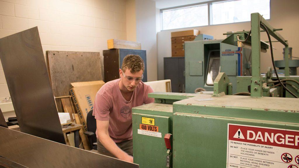 employee working in machine shop