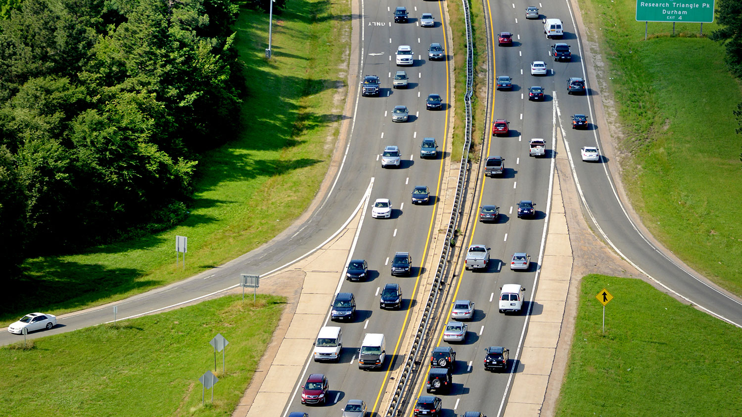 aerial view of highway traffic