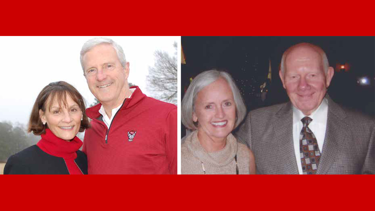 From left, Scott Stabler, MAE'82, with wife Beth, and Gerald White, MSE '60, with wife Nancy
