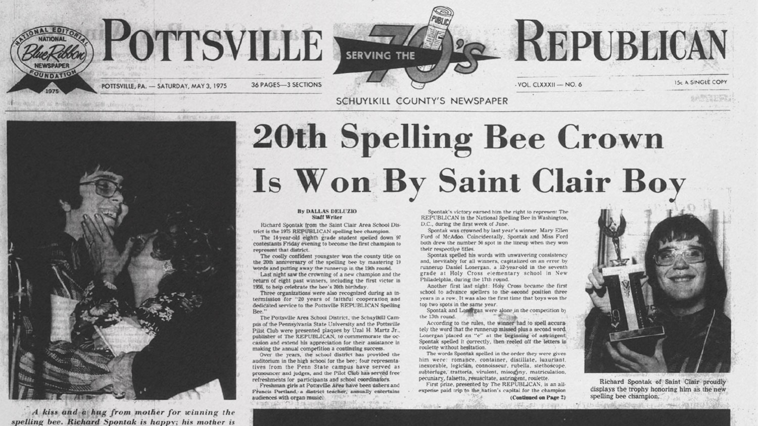 Newspaper clipping of 1975 Spelling Bee