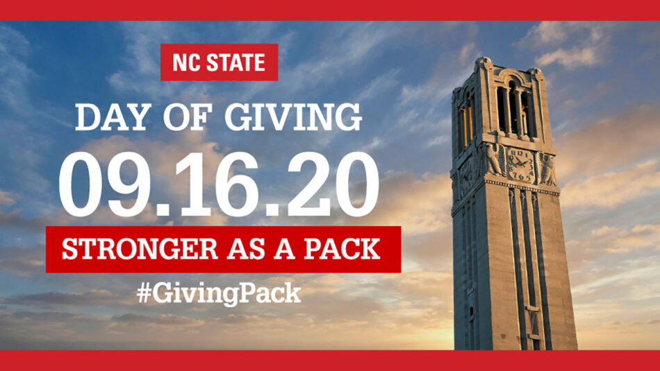 NC State Day of Giving, 9-16-20, Stronger as a Pack, #GivingPack