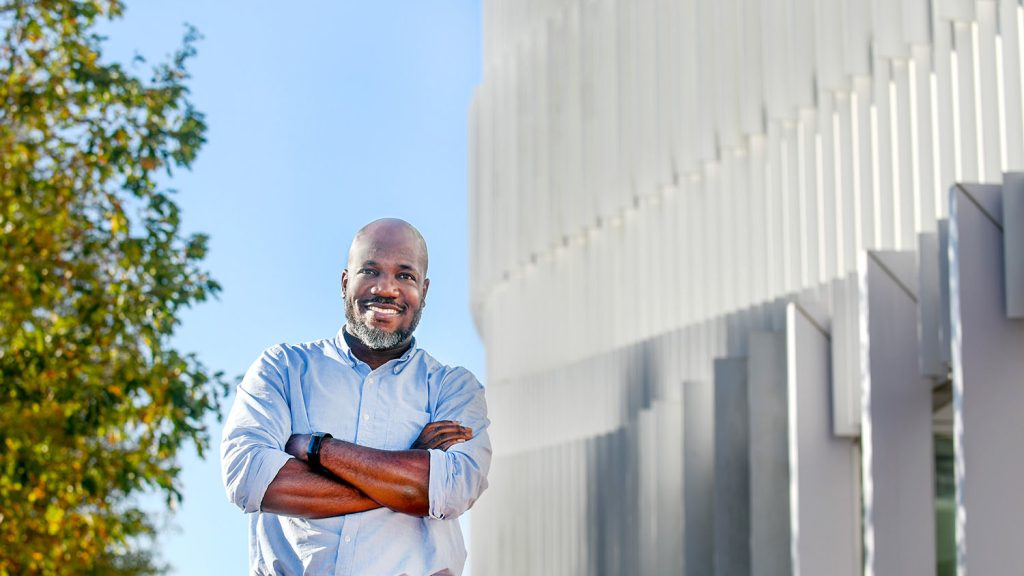 Cranos Williams in front of Hunt Library
