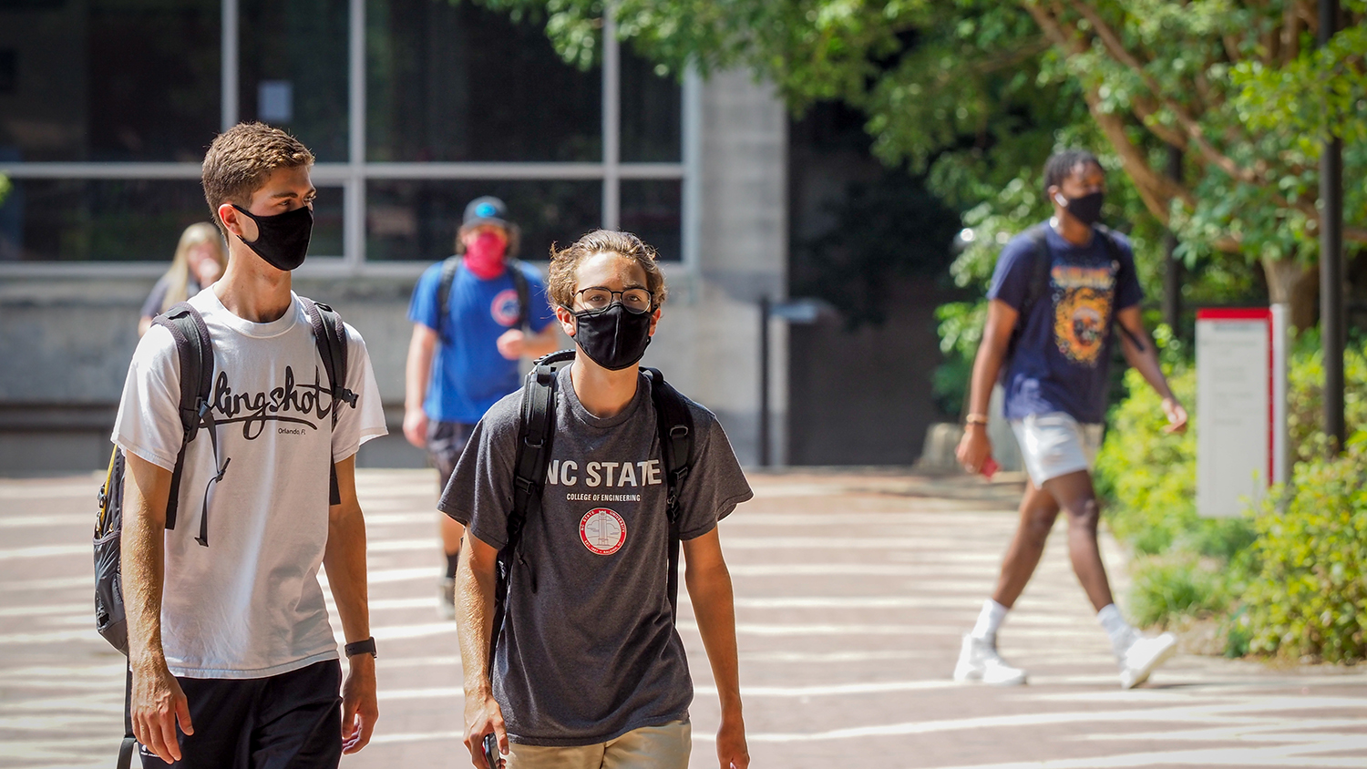 NC State students walking on campus