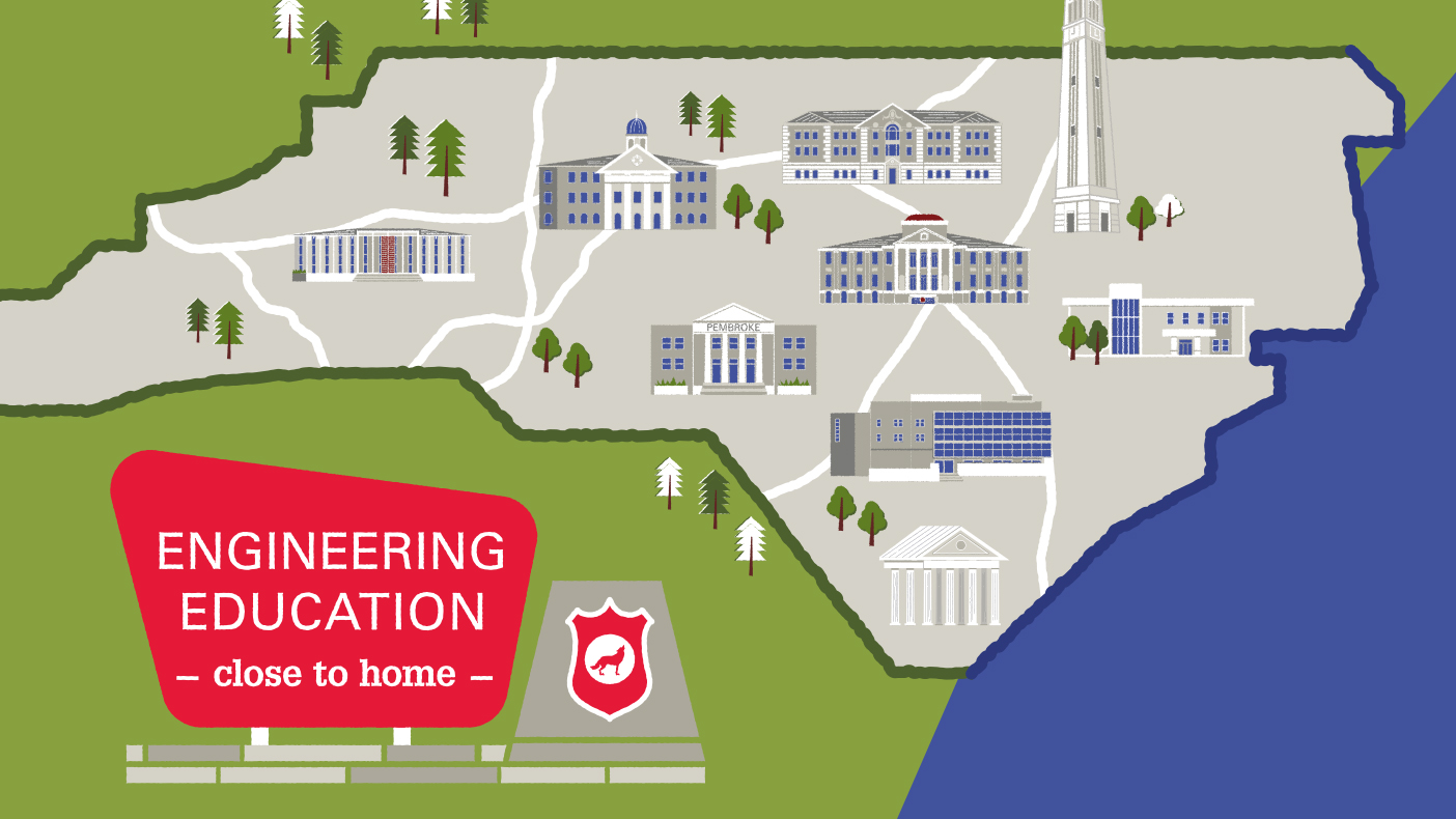 illustration of state of north carolina and instituions affiliated with NC State Engineering