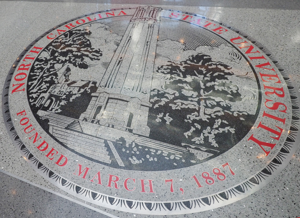 image of seal of NC State on floor