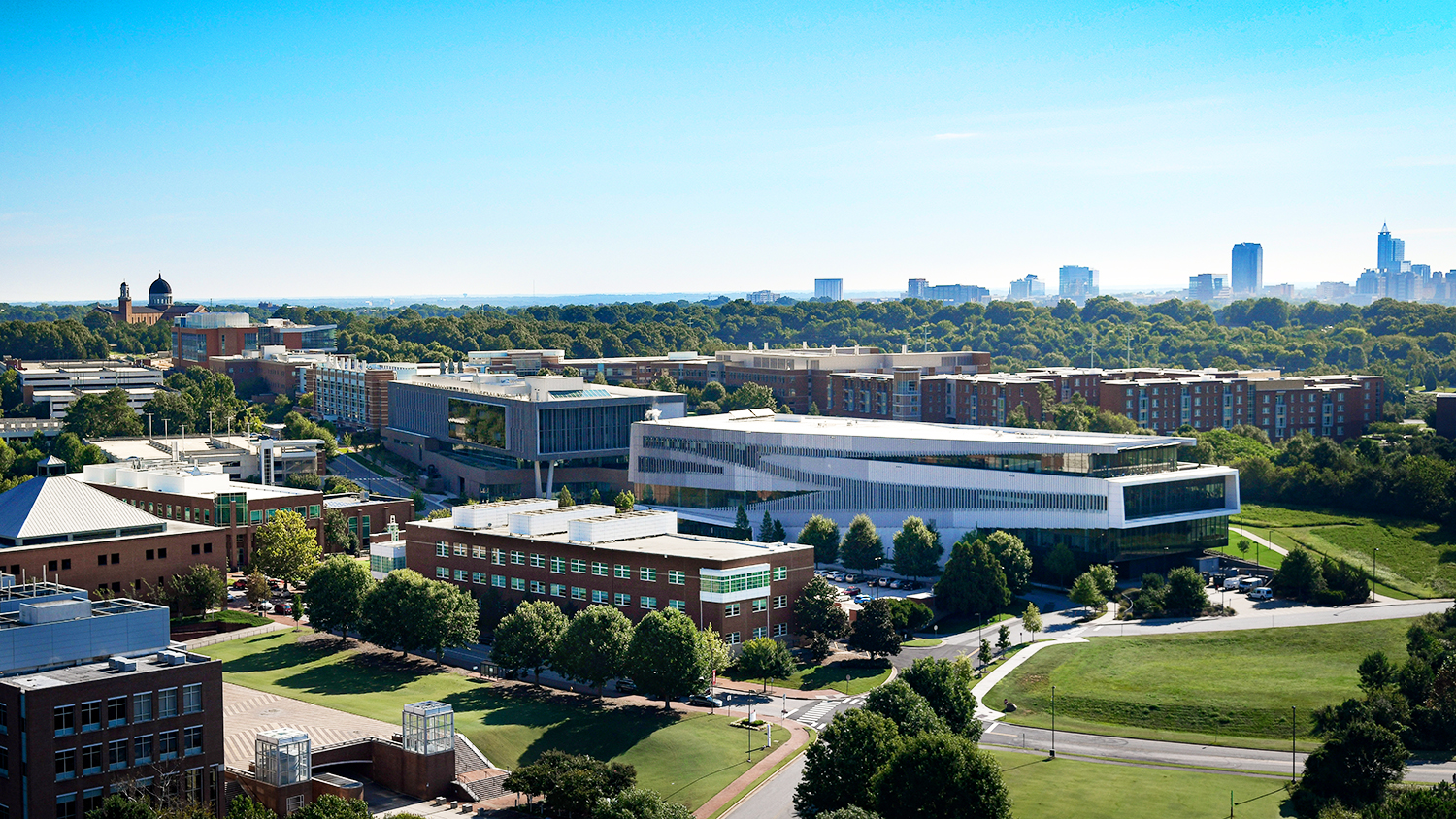 Aerial view of Centennial Campus looking towards downtown Raleigh, NC.