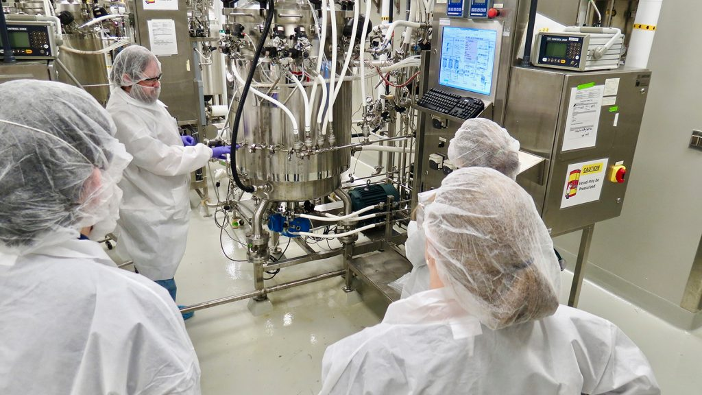 Students learn about microbial fermentation for biopharmaceutical manufacturing in BTEC's large-scale fermentation suite.