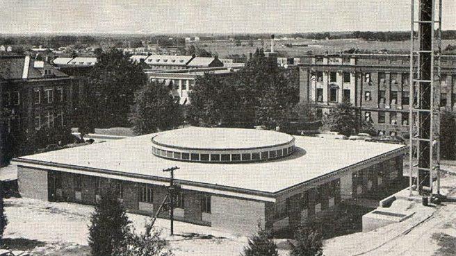 Aerial view of Burlington laboratory circa 1953