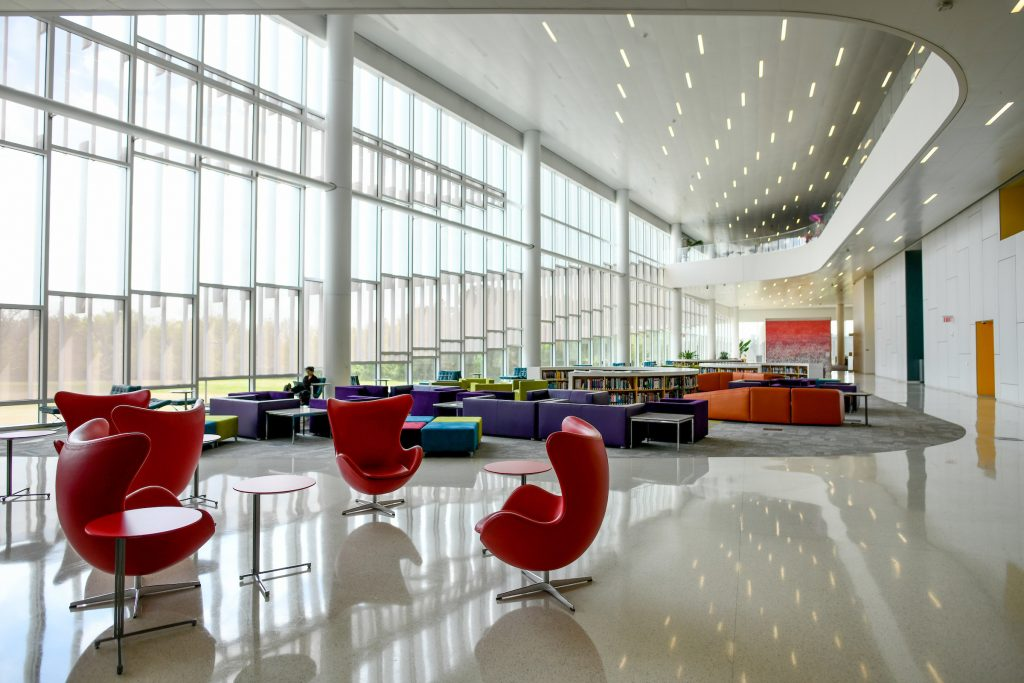Interior view of Hunt Library.