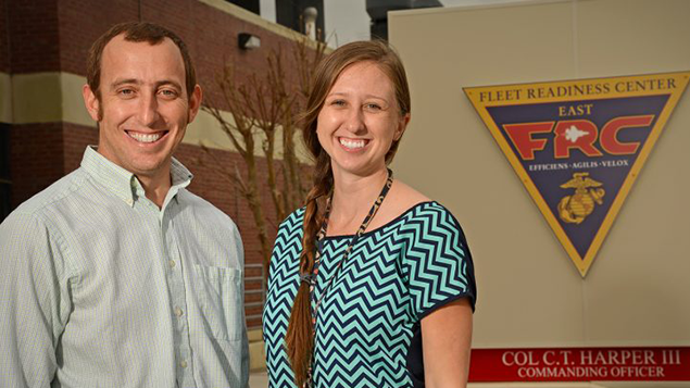 NCState alumni Ramsey Davis and Holly Tucker earned their engineering degrees from the 2+2 site-based engineering program in Havelock, North Carolina.